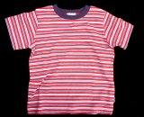 キッズ ストライプ Tシャツ(ネイビー/レッド)/Stripe T-shirt(Navy/Red)