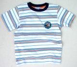 キッズ ストライプ Tシャツ(ホワイト/ブルー)/Stripe T-shirt(White/Blue)