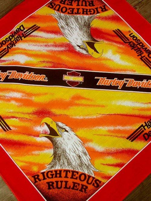 画像クリックで大きく確認できます Click↓2: ハーレーダビッドソン バンダナ(レッド・RIGHTEOUS RULER)/Harley Davidson Bandana