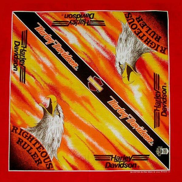 画像1: ハーレーダビッドソン バンダナ(レッド・RIGHTEOUS RULER)/Harley Davidson Bandana