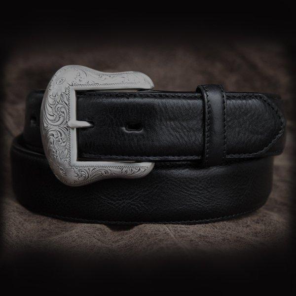 画像1: ウエスタン レザー ベルト ブラック/Leather Belt(Black)