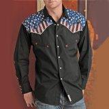 パンハンドルスリム ウエスタンシャツ(ブラック/長袖)ラージサイズ/Panhandle Slim Long Sleeve Western Shirt