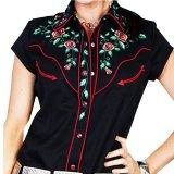 スカリー ウエスタン 刺繍 シャツ ブラック キャップスリーブXS/Scully Western Shirt(Women's)