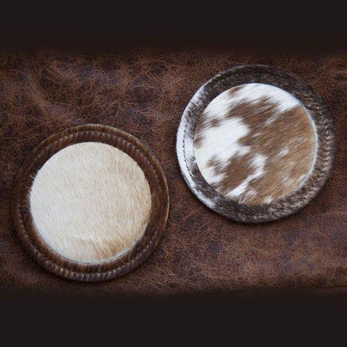 画像クリックで大きく確認できます Click↓1: ウエスタン 牛毛皮 コースター(プレーン・スター)/Cowhide Hair-on Coaster