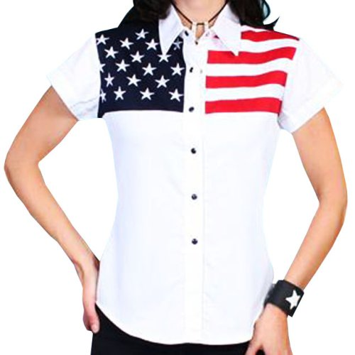 画像クリックで大きく確認できます Click↓3: スカリー USA アメリカ国旗シャツ(キャップスリーブ/アメリカンフラッグ)/Scully Western Shirt(Women's)