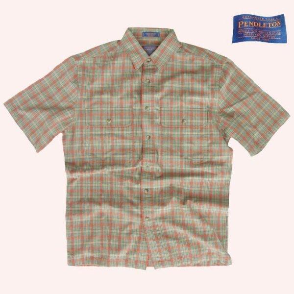 画像1: ペンドルトン半袖シャツ(オレンジプラッド)S/Pendleton Short Sleeve Shirt