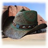 シェリフ コンチョ&スター ストローハット(オールドタイムブラウン)/Western Straw Hat