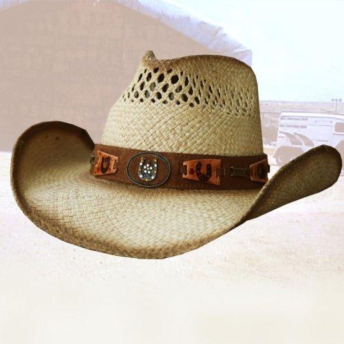 画像クリックで大きく確認できます Click↓1: ウエスタン パナマ ストロー ハット ホースシュー/Western Straw Hat(Natural)