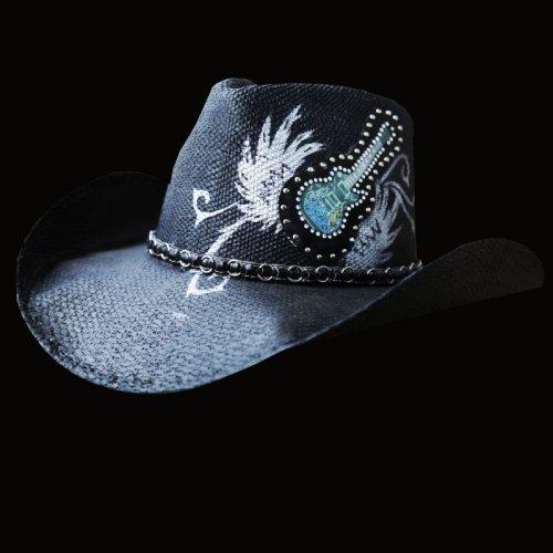 画像クリックで大きく確認できます Click↓1: 光る ロックギター ウエスタンスタイル ストローハット/Western Straw Hat (Black)