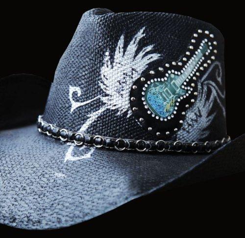 画像クリックで大きく確認できます Click↓2: 光る ロックギター ウエスタンスタイル ストローハット/Western Straw Hat (Black)