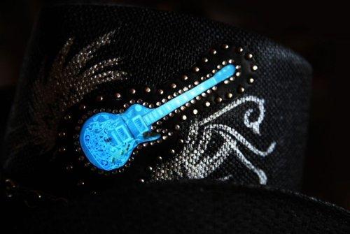 画像クリックで大きく確認できます Click↓3: 光る ロックギター ウエスタンスタイル ストローハット/Western Straw Hat (Black)