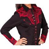 スカリー刺繍  ウエスタン シャツ(長袖/ブラック・トマト)/Scully Long Sleeve Western Shirt(Women's)