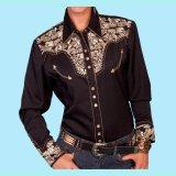 スカリー 刺繍 ウエスタン シャツ(長袖/ブラック・ゴールド)/Scully Long Sleeve Western Shirt(Women's)