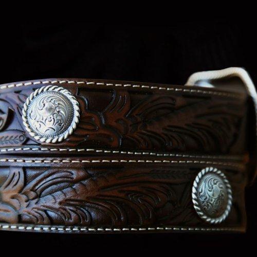 画像クリックで大きく確認できます Click↓2: フローラル&コンチョ レザー ベルト(ブラウン)/Leather Belt(Brown)