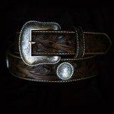 フローラル&コンチョ レザー ベルト(ブラウン)/Leather Belt(Brown)
