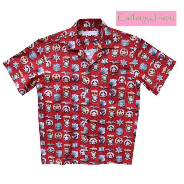 画像1: カリフォルニア トロピック USA キャンプシャツ(シェリフバッジ)/California Tropic Camp Shirt