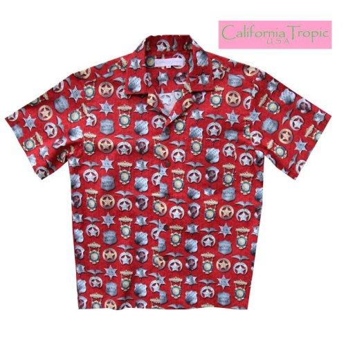 画像クリックで大きく確認できます Click↓1: カリフォルニア トロピック USA キャンプシャツ(シェリフバッジ)/California Tropic Camp Shirt