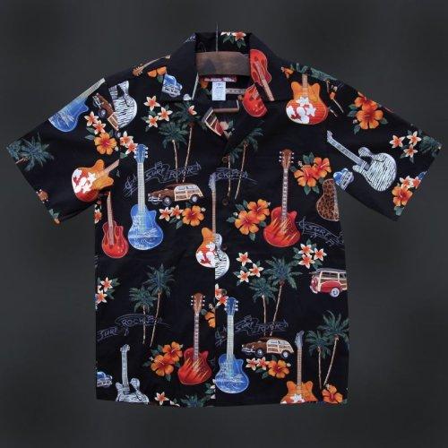 画像クリックで大きく確認できます Click↓1: ギター アロハシャツ (Black/ブラック)