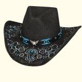 カウガール ウェスタン パナマ ストローハット(シルバー・ターコイズ)/Western Straw Hat(Black)