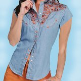 スカリー ウエスタン 刺繍 シャツ(キャップスリーブ/ライトブルー)/Scully Western Shirt(Women's)