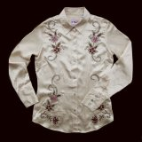 フローラル サテン 刺繍 ウエスタンシャツ(長袖・ライトゴールド)/Western Shirt Long Sleeve(Women's)