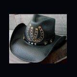 レザーハットバンドウエスタンストローハット(ホースシュー・蹄鉄/ブラック)/ Straw Hat(Black)