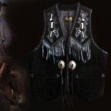 スカリー ウエスタン レザー フリンジ ベスト(ブラック)/Scully Western Leather Fringe Vest