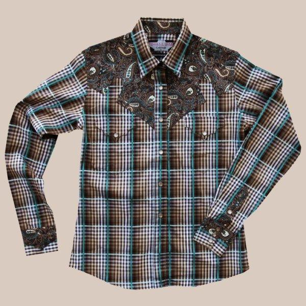 画像1: パンハンドルスリム ウエスタン シャツ ブラウン・ターコイズ (長袖/レディース)/Panhandle Slim Long Sleeve Western Shirt(Women's)