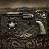 ジャスティン リボルバー テキサスレンジャースター フローラルベルト(ブラウン)/Justin Leather Belt