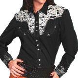 スカリー 刺繍 ウエスタン シャツ(長袖/ブラック・シルバー)/Scully Long Sleeve Western Shirt(Women's)