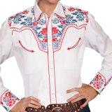 スカリー 刺繍 ウエスタン シャツ(長袖/ホワイト・フローラルマルチカラー)/Scully Long Sleeve Western Shirt(Women's)