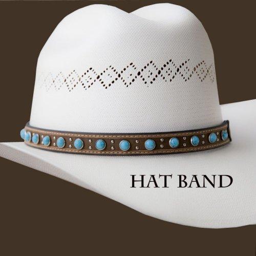 画像クリックで大きく確認できます Click↓1: レザー ハットバンド (ブラウン・ターコイズ)/Hat Band (Brown Turq)