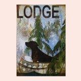 ロッジ サイン ドッグ&カヌー/Wood Sign