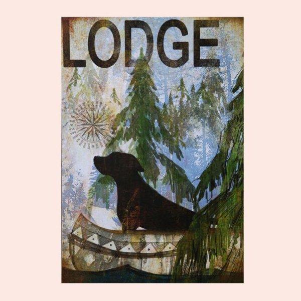 画像1: ロッジ サイン ドッグ&カヌー/Wood Sign