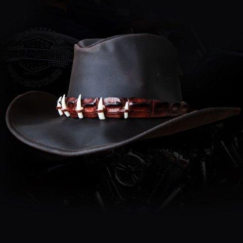 画像クリックで大きく確認できます Click↓1: クロコダイルレザー&ティース オイルレザーハット(ダークブラウン)/Crocodile Hatband Oiled Leather Hat(Dark Brown)