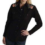 ローズ 刺繍 ウエスタン シャツ(長袖/ブラック)S/Long Sleeve Western Shirt(Women's)