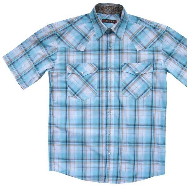 画像1: ローパー ウエスタンシャツ(ライトブルー・ブラウン・ホワイト/半袖)/Roper Short Sleeve Western Shirt