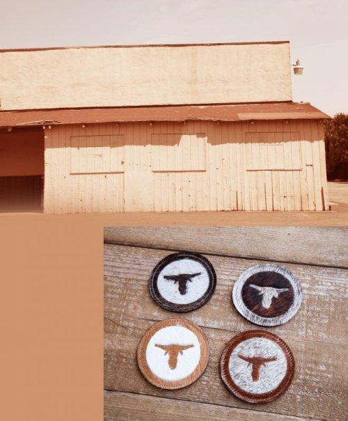 画像クリックで大きく確認できます Click↓1: ウエスタン 牛毛皮 コースター(ステアーヘッド)/Cowhide Hair-on Coaster