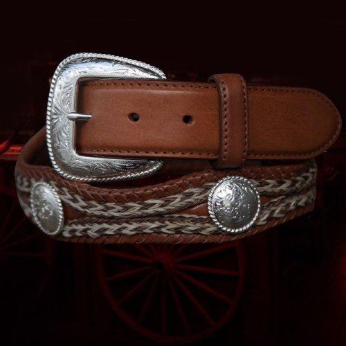 画像クリックで大きく確認できます Click↓2: トニーラマ ホースへアーコンチョベルト(ブラウン)/Tony Lama Mustang Scallop Belt(Brown)