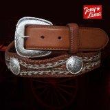 トニーラマ ホースへアーコンチョベルト(ブラウン)/Tony Lama Mustang Scallop Belt(Brown)