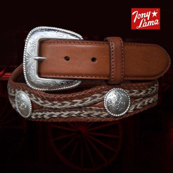 画像1: トニーラマ ホースへアーコンチョベルト(ブラウン)/Tony Lama Mustang Scallop Belt(Brown)