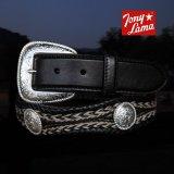トニーラマ ホースへアーコンチョベルト(ブラック)/Tony Lama Mustang Scallop Belt(Black)