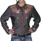 スカリー 刺繍 ラインスト-ン ウエスタン シャツ(長袖/チャコール)/Scully Long Sleeve Western Shirt(Women's)