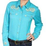 スカリー 刺繍 ウエスタン シャツ(長袖/ターコイズ・スター)/Scully Long Sleeve Western Shirt(Women's)