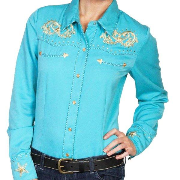 画像1: スカリー 刺繍 ウエスタン シャツ(長袖/ターコイズ・スター)/Scully Long Sleeve Western Shirt(Women's)