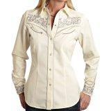 刺繍 ウエスタン シャツ(長袖/クリーム・シルバー)/Long Sleeve Western Shirt(Women's)