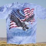 アメリカンイーグル&星条旗 半袖Tシャツ(ライトブルー)/T-shirt