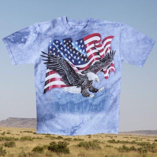 画像クリックで大きく確認できます Click↓1: アメリカンイーグル&星条旗 半袖Tシャツ(ライトブルー)/T-shirt