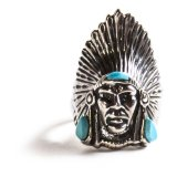 ナバホ インディアンヘッド リング(スターリングシルバー・ターコイズ)/Navajo Sterling Silver Ring