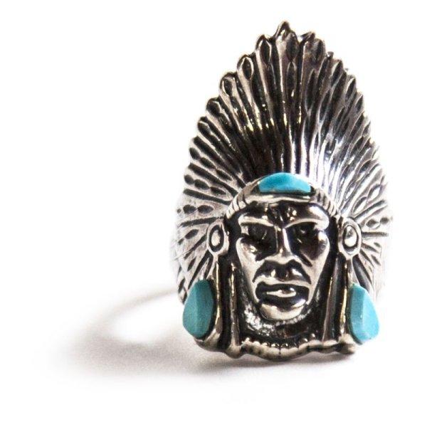 画像1: ナバホ インディアンヘッド リング(スターリングシルバー・ターコイズ)/Navajo Sterling Silver Ring